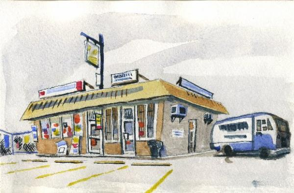 "Sandwich Shop; Watercolor on Paper; 4.5""x8"""